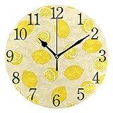 Mnsruu - Reloj de Pared Redondo de Color Amarillo limón, Pintura al óleo silenciosa para Dormitorio, Sala de Estar, Oficina, Escuela, decoración del hogar