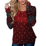 Christmas Sweatshirt Damen UFODB Frauen Frau Langarmhemd Pullover Bluse Warme Nähen Weihnachten Drucken Langarm Hemd Weihnachtspullover Fashion Pulli