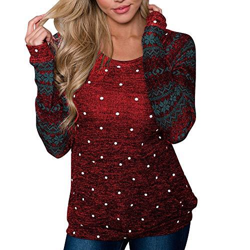 Likecrazy Weihnachten Sweatshirt Elegante und schöne Pullover lange Ärmel Herbst Winter Jumper Sweatshirt mit O-Ausschnitt Oversize Boyfriend sexy Drucken Bluse Shirt(rot,M) -