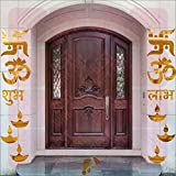 BEST DECOR Om Swastik Golden(Pack Of 14)Acrylic Sticker, 3D Acrylic Sticker, 3D Mirror, 3D Acrylic Wall Sticker, 3D Acrylic Stickers For Wall, 3D Acrylic Mirror Stickers For Living Room, Bedroom, Kids Room, 3D Acrylic Mural For Home & Offices D&eacute