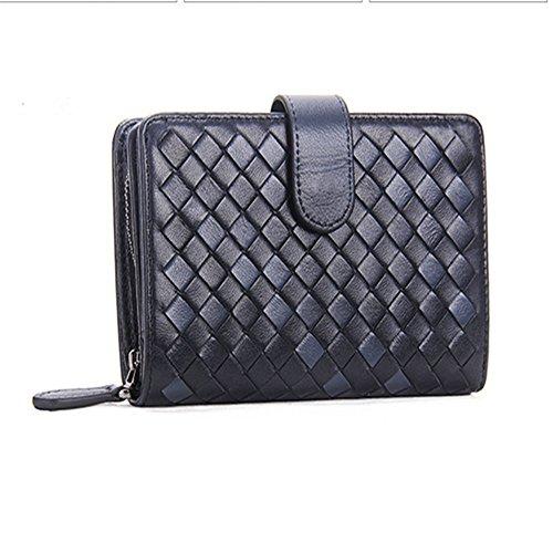 Bolso de cuero trenzado para mujer, hecho a mano, con monedero para mujer Zapatos de moda de los hombres (Color : Negro)