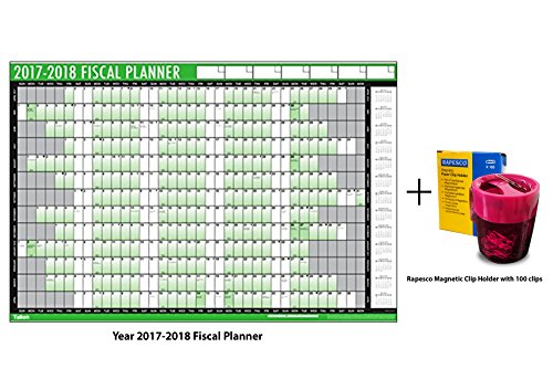 Financial 2017-2018 Fiscal Wall Planner Calendar with Pen and Adhesive Dots 3800 Test