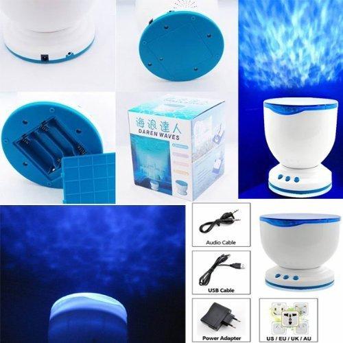 Fuloon Romantische Ozean Sea Waves Daren Projektor MP3 iPhone Lautsprecher LED-Nachtlicht Lampe Ozean Welle Licht Projektor Laserlicht Beleuchtung Lautsprecher Projektion-Lampen - Wave Bad Licht