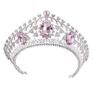 Tiaras Braut Luxus Hochzeit Krone Tiara Kristallhaarzusatz, Rosa