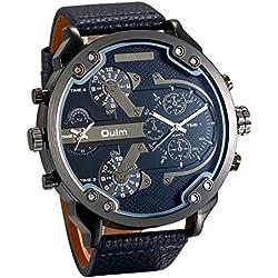 JewelryWe Reloj de Pulsera para Hombre, Correa de Piel, Esfera Grande, Reloj de Cuarzo (Negro-2)