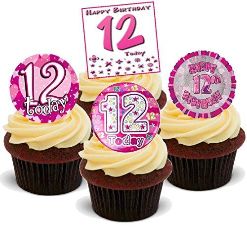 12. Geburtstags Mädchen Rosa Mix - 12 essbare Standup Kuchen-Deko, Kuchendekorationen, essbar, Premium, 2 x A5, für 12 Bilder