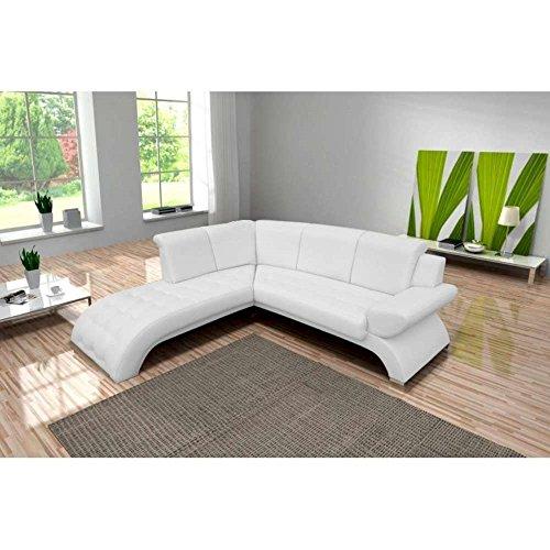 JUSTyou ORION Canapé d'angle en cuir écologique (L x P): 225 x 212 cm Blanc Angle gauche