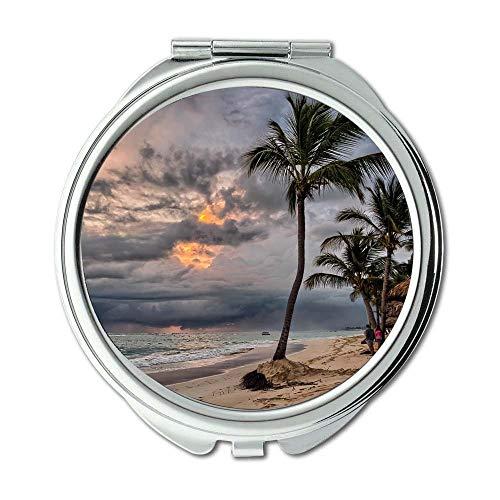 Yanteng Spiegel, kompakter Spiegel, schlechtes Wetter Strandwolken, Taschenspiegel, tragbarer Spiegel