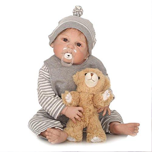 Nicery Reborn - Muñeca de bebé de vinilo de alta calidad, 50 – 55 cm, magnética, para niños, amigos, impermeable, juguete para niña, con traje para Acción de Gracias, color negro, frigorífico, Navidad, día de Navidad, color marrón osito b79