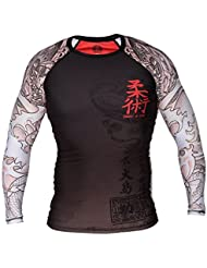 Dirty Ray Arts Martiaux Combat Jiu-Jitsu t-shirt manche longue rashguard homme RG2LS