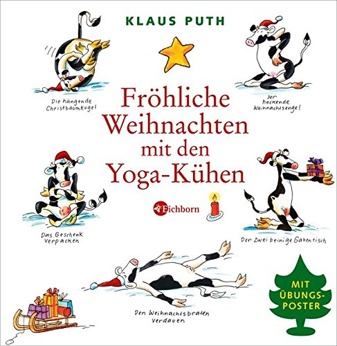 Fröhliche Weihnachten mit den Yoga-Kühen. Mit Übungsposter