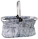 StyleKiste Einkaufskorb mit Aluminiumrahmen 46x29x23 cm/28 Liter Shopper in Unterschiedlichen Farben (Jeans)