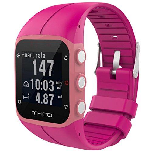 IGEMY 23MM Große Silikon Gummi Uhrenarmband Ersatz Handgelenk Bügel für Polar M400 M430 Fitness Uhr (Hot Pink)