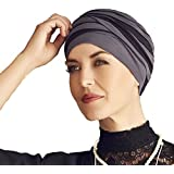 Chemo turban in bamboo/viscose - Shanti black and blue