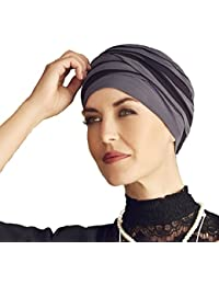 Turbante Shanti con bambú negro y azul para mujeres con alopecia
