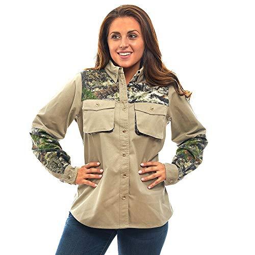 TrailCrest Damen Signature Baumwolle Twill Jagd Shooting Shirt, Mossy Oak Camo Muster, Mountain CountryTM - Kahki, X-Large -