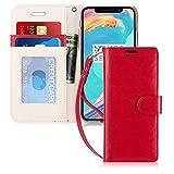 FYY Coque iPhone 8 Plus, Coque iPhone 7 Plus, [RFID Portefeuille Blocage] Fait Main Housse Portefeuille avec Béquille Protecteur de Carte de crédit pour Apple iPhone 8 Plus/iPhone 7 Plus Rouge