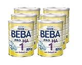 Nestlé BEBA Pro Ha 1 Anfangsnahrung, von Geburt an, 6er Pack (6 x 800 g), Pulver, wiederverschließbar, mit praktischer Messlöffelablage, 800 g Dose