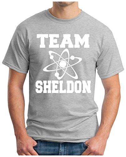 OM3 - BIG-BANG-TEAM-S-WS - T-Shirt ATOM PENNY KITTY GEEK EMO FUN SITCOM TBBT NERD SARCASM PARODY, S - 5XL Grau Meliert