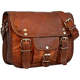 "Small Leather Shoulder Bag Gusti Leder nature ""Emilia 7"" Satchel Handmade Handbag 7 Inch Vintage Style Unisex Brown H3"