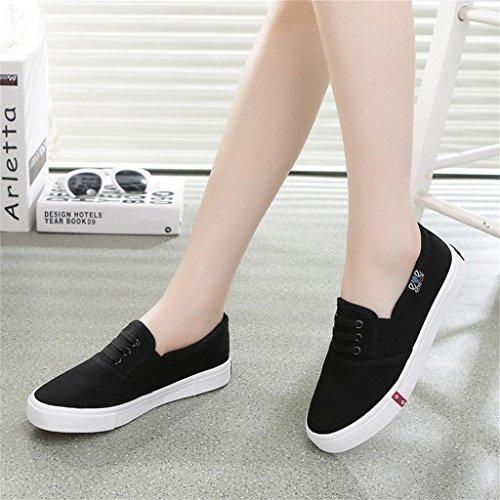 ALUK- Printemps et automne toile Chaussures Casual Shoes Chaussures étudiants coréens ( couleur : Blanc , taille : 38 ) Noir