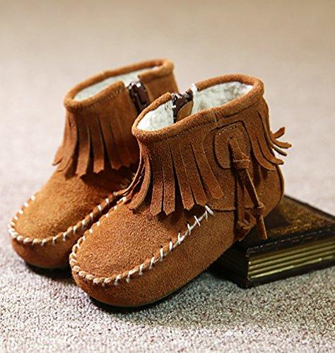 YiJee Enfants Bottes de Neige épaissir Chaud Tassel Doux Sole Chaussures Marron