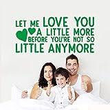 yiyiyaya Citas de Amor de Dibujos Animados Etiqueta de Pared PVC extraíble para decoración de Dormitorio Pegatinas de Pared Papel Pintado Impermeable Verde 57cm X 124cm