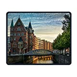 Hamburg Speicherstadt Comfortable Rectangle Rubber Base Mousepad Gaming Mouse Pad