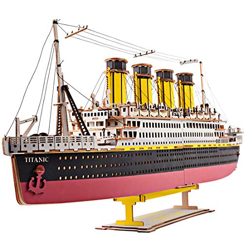 Rolanli Modellbau Kits, 3D Holz Puzzle Titanic Modell Hölzernes Montage Spielzeug für Kinder Erwachsene (Titanic Holz Modell)
