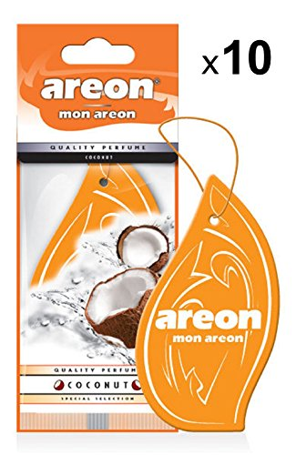 Areon Mon Air Freshener Coconut Car Orange Tropical Smell House Pendant Hang Perfume Original Cardboard Rear Viewer Office 2D (Coconut Pack 10)
