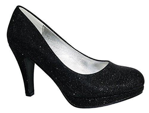 Damen Pumps Spitze Pastell High Heels Schuhe Strass Glitzer Elegant Peep-Toes Hochzeit Größe 40, Farbe Schwarz