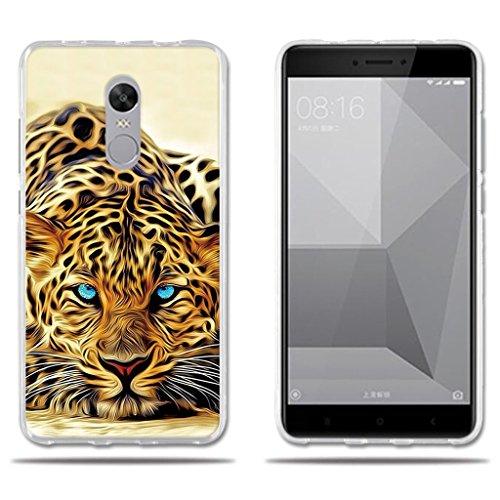 """FUBAODA Funda Xiaomi Redmi Note 4X Exótico Dibujo de un Leopardo de Ojos Azules, Gel de Silicona TPU, Amortigua los Golpes, Funda Protectora para Xiaomi Redmi Note 4X (5.5"""")"""