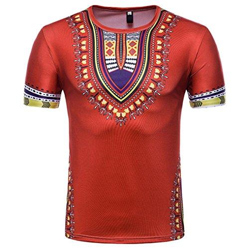 T-Shirt Africain, Malloom Chemise à Manches Courtes à Manches Courtes pour Hommes (XL, Rouge(H))