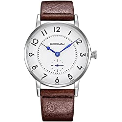 CRRJU Men's Wrist Watches Business Men's Quartz WristWatch 3ATM Daily Water Resistant Genuine Leather Strap Wristwatch with Arabic Numeral Hour Marker