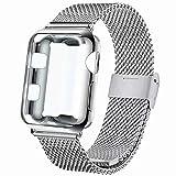 INZAKI Bracelet avec Coque pour Apple Watch 40mm, Boucle en Acier Inoxydable avec Couvercle Protection d'Écran pour iWatch Serie 4,Sport, Edition,Rosa