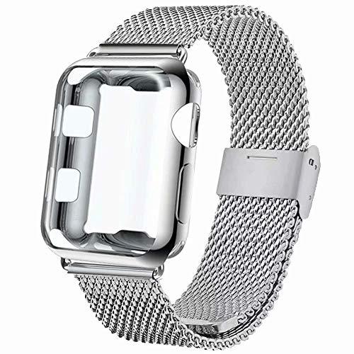 INZAKI Correa con Funda para Apple Watch 38mm, Malla de Acero Inoxidable Correa de Bucle con Protector Pantalla para iWatch Serie 3/2/1, Sport, Edition,Plata