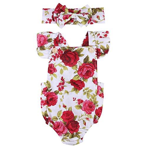 Vêtement Bébé Fille Combinaison Florale Rose Imprimée Manches Plisées+Bandeau (6-12mois, Floral)
