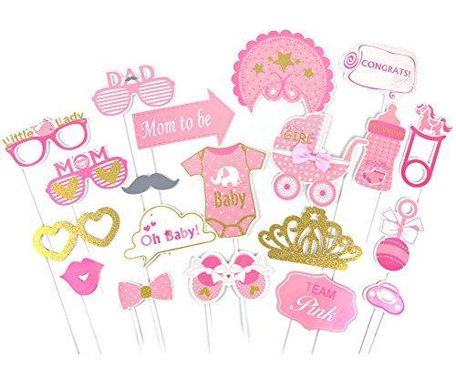 SUNBEAUTY Fotorequisiten Babyparty Rosa Taufe Mädchen Babydusche Photo Booth Props (Entfernen Sie Kleidung Mädchen)