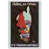 Besuchen Sie Korsika - Compagnie Générale Transatlantique (Französische Schiffahrtsgesellschaft) - Vintage Retro Dampfschiff Kreuzschiff Reise Plakat Poster von Edouard Collin c.1950s - Kunstdruck - 33cm x 48cm