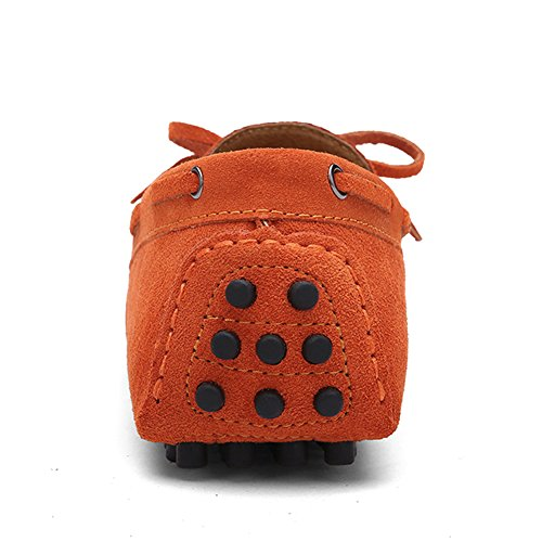 Herren Klassische Slip-on Wildleder Loafers Fahren Halbschuhe Mokassin Lederschuhe Bootsschuhe Orange