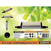 ECOBELLE® 1 x Bombilla LED R7S 10W 1250 Lúmenes, Bombilla Regulable, Color Blanco Cálido 3000K, 118 mm, 270 grados