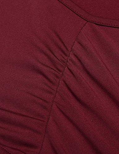 Modfine Damen T-Shirt Tops Casual Kurzarm Rundhals Basic Shirts Weinrot