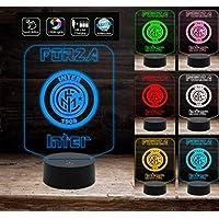 Regalo compleanno ORIGINALE lampada led 7 colori Squadra calcio FORZA INTER Decorazione della casa Night Light