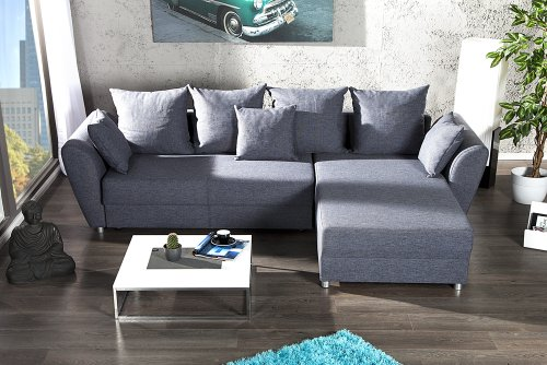 Design Ecksofa PALMA Strukturstoff anthrazit Federkern Schlaffunktion Ottomane beidseitig