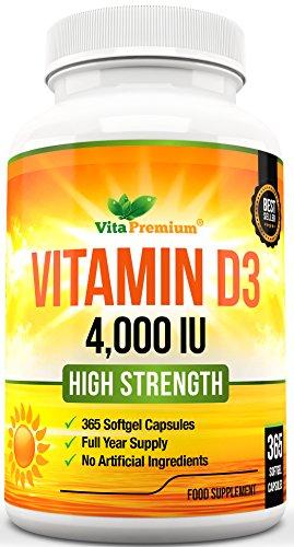 Vitamina D3, 365 Capsule Morbide (1 Anno di Fornitura), Integratore di Vitamina D 4000IU