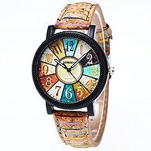 KanLin1986 Harajuku graffiti patrón de cuero cinturón análogo cuarzo relojes retro personalidad hip hop relojes