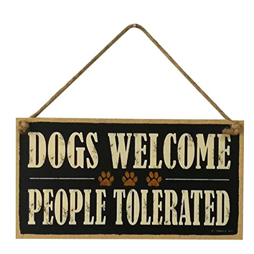 (VORCOOL Dogs Welcome People Tolerated Holz Schild Farm Deko Dekoration zum Aufhängen Board, Schild)