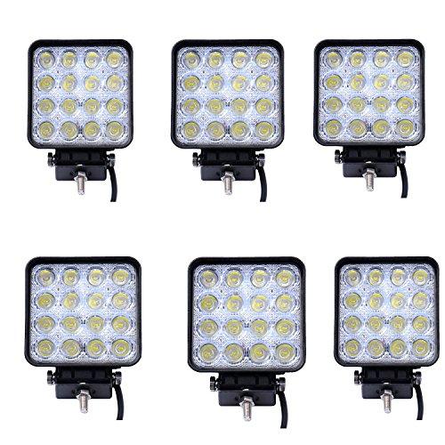 LARS360 48W LED Arbeitsscheinwerfer Offroad Flutlicht Fluter 10V-30V Rückfahrscheinwerfer Zusatzscheinwerfer Scheinwerfer Für Trecker KFZ Bagger SUV, UTV, ATV (6 Stück)