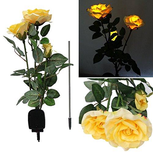 Bluelover 1 X Energia Solare 3 Led Rose Fiore Luce Giardino Esterno Cortile Pratoarredamento - Giallo - Fluorescente Pianta Lampadine