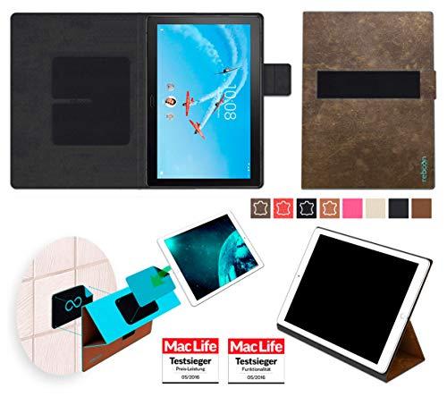 Hülle für Lenovo Tab P10 Tasche Cover Case Bumper | in Braun Wildleder | Testsieger